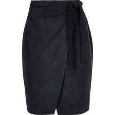 River Island Navy faux suede wrap skirt (195 ILS) ❤ liked on Polyvore featuring skirts, blue, midi skirt, calf length skirts, mid-calf skirt, navy blue skirt and faux suede skirt