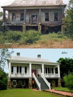 Home Remodeling Before And After Greek Revival Sand Hill Cottage (Before and After) - Living Vintage Home Exterior Makeover, Exterior Remodel, Interior And Exterior, Interior Design, This Old House, Farmhouse Renovation, Farmhouse Remodel, Old Home Remodel, Bungalow Renovation