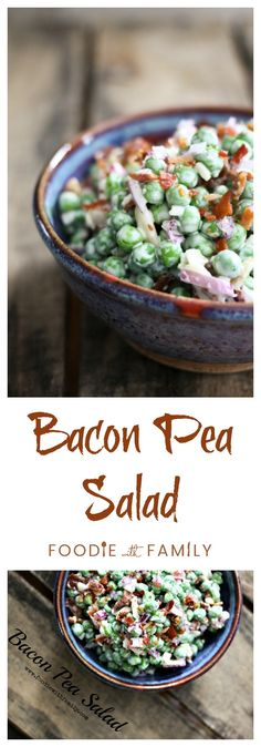 Easy Bacon Pea Salad with Cheddar Cheese. Perfect for Easter or any time! www.foodiewithfamily.com