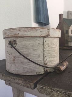 Antique Primitive Bail Handled Pantry Box in Old original Paint #NaivePrimitive