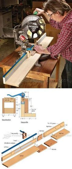 Miter Saw Fence Plans - Miter Saw Tips, Jigs and Fixtures | WoodArchivist.com #WoodworkingTools