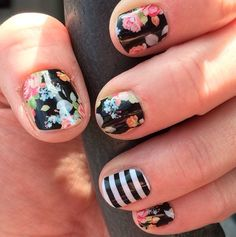 Jamberry Sweet Nothing with accent nail of Jamberry Black&White Stripe • amandac.jamberrynails.net