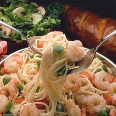 Shrimp pasta recipe that tastes equally good with chicken or scallops. Quick, versatile, gourmet!