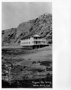 White's Point Hot Springs, San Pedro, California. this phot shows the hotel looking northwest from the rocky coastline. White Point is a picnic destination today.