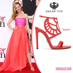 Leslin Mann in Oscar Tiye Cleopatra Red Leather Sandals