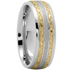 Antique Wedding Ring With Elaborate Details And Distinctive Style - $704 - Available in All White, Yellow, or Two-Tone 14K or 18K Gold - Free Shipping, 30 Day Return Policy, Made in the USA