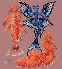 Some recent mer studies. A flasher wrasse mermaid, a seacucmber, and a mock-fish glaucer. R-mer studies Mythical Creatures Art, Mythological Creatures, Magical Creatures, Fantasy Character Design, Character Design Inspiration, Character Art, Mermaid Drawings, Mermaid Art, Creature Concept Art