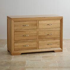 Bevel Natural Solid Oak 6-Drawer Dresser