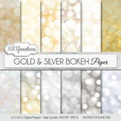 """Bokeh digital paper """"Gold & Silver Bokeh"""" Bokeh Overlay, Gold digital backgrounds, Bokeh Background for Photographers, invitations and more"""