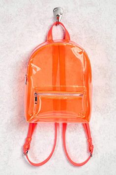 Product Name:Faux Leather Trim Clear Backpack, Category:ACC_Handbags, Clear Backpacks, Orange Backpacks, Stylish Backpacks, Cute Backpacks, Bags Online Shopping, Online Bags, Backpack Purse, Leather Backpack, Rucksack Backpack