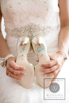I Do on her heels, must be she & her groom are kneeling when taking their vows. I <3