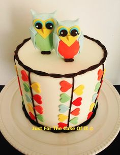 Valentine's Day cake - Orla Kiely inspired hearts and Love Owls.    www.facebook.com/thecakeofit thecakeofit@gmail.com
