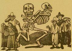Jose Guadalupe Posada. Monografia; las Obras de Jose Guadalupe Posada. n.c. : n.p., 1930. Page 178. Death with skull and crossbones held behind its back, running through crowd