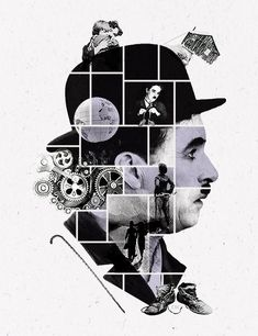 """Chaplin is """"For The Ages"""" Graphic Design Posters, Graphic Design Illustration, Graphic Design Inspiration, Book Design, Design Art, Web Design, Charlie Chaplin, Collage Design, Collage Art"""