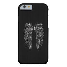 Angel Wings Bling Sparkle on Black Barely There iPhone 6 Case