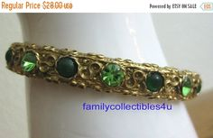 20% CIJ Gold Tone and Green Rhinestone by familycollectibles4U