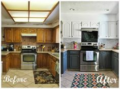 A standard 80's kitchen with oak cabinets gets a fresh look with some paint... white upper cabinets and grey lowers