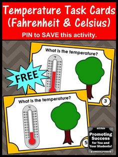 FREE Temperature Task Cards Fahrenheit Celsius Reading a Thermometer Activities
