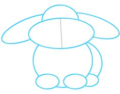 how to draw a simple bunny standing up