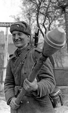 Russian soldier with a Panzerfaust