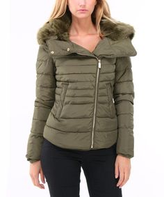 Another great find on #zulily! Olive Asymmetrical Faux Fur-Collar Puffer Jacket #zulilyfinds