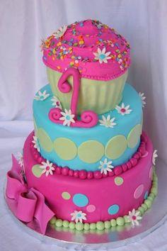 Colorful cupcake 1st Birthday