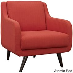 Modway Verve Mid Century Fabric Armchair (Atomic Red), Beige Off-White