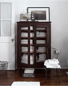 We just sold cabinet like this  ~Le Barn.  Love color coordination – white with dark!