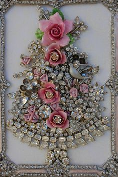 Vintage Jewelry Framed Christmas Tree ♥ Pink Roses Clear Rhinestones Dove | eBay
