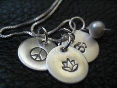 Yoga Hand Stamped Jewelry Personalized Silver by SusanKJewelry, $116.00
