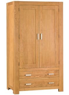 2f60a6029adf Nevada Chunky Oak Gentlemans Double Wardrobe #chilternoakfurniture This  large oak gents wardrobe is ideal for
