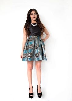 Teal Blue Mini Cocktail Dress with Chrome Roses Weekend Wardrobe $42.99