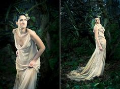 Bridal fashion shoot featuring couture wedding dresses made from real flowers and foliage. | We Fell In Love