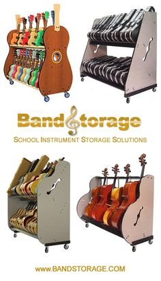 Instrument storage carts and Stands For your school music classroom. They're super sturdy, easily assembled, American-made and built to last. Guitar Storage, Guitar Hooks, Guitar Diy, Music Classroom Posters, Classroom Design, Classroom Decor, Storage Room, Storage Ideas, Guitar Classes