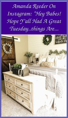 Here are some awesome shabby chic bedroom decorating ideas to your inspiration. Take a look at these creative ideas and you will find whether it's to ... Shabby Chic Bedrooms, Cozy Bedroom, Bedroom Decor, Shabby Chic Style, Rustic Chic, Hanging Rail, Distressed Furniture, Creative Ideas, Decorating Ideas