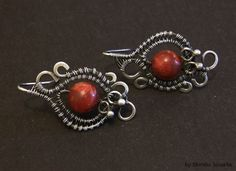 Vevina handmade wire wrapped earrings sterling and by MeaJewelry