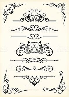 A black scroll set on tan paper royalty-free stock vector art