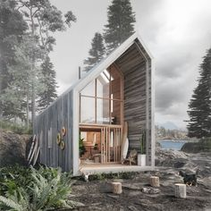 Want To Live Beachfront Affordably and Off the Grid This Prefab Surf Shack Is for You is part of Small house design architecture - It's ecofriendly and delivered flatpack (IKEAstyle) for easy assembly Prefab Buildings, Prefabricated Houses, Modern Buildings, Surf Shack, Studios Architecture, Architecture Design, Sustainable Architecture, Modular Cabins, Modern Cabins