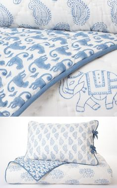 Blue block prints - great print mixing, still so calm for sleepy time. Blue Comforter Sets, White Bedding, Linen Bedding, Bed Covers, Cushion Covers, Blue And White Fabric, Blue Block, Textiles, Awesome Bedrooms
