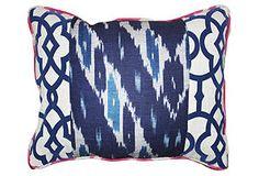 Raji 14x20 Cotton Pillow, Navy