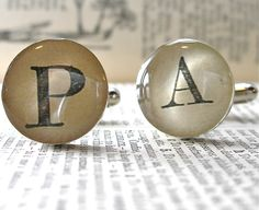 As Seen in ETSY Finds Father's Day Shopping Guide - Vintage Dictionary Monogram Sterling Silver Cufflinks.