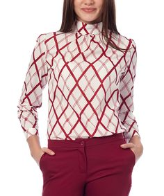 This Guita Burgundy & Ivory Argyle Mock Neck Top by Guita is perfect! #zulilyfinds