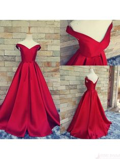 Red Off Shoulder  Floor-Length   Prom Dress Ball Gown Evening Dresses (ED1321)