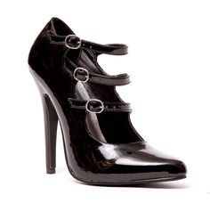 "Ellie Shoes E-512-Blanch, 5"" Heel Strappy Pump. 9 Black. Man-Made Material, manmade sole. Platform measures approximately 0"". Pointy toe mary jane pump. Strappy vamp with buckle detail. Stiletto heel, Lightly padded footbed."