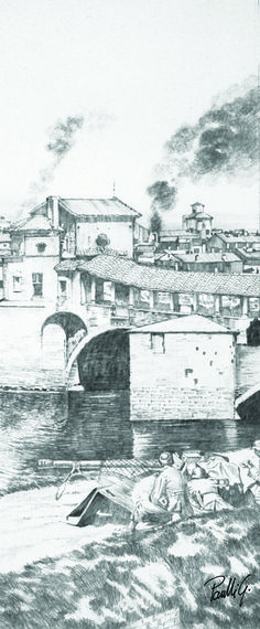 Pavia cover bridge, pencil drawing 30x70