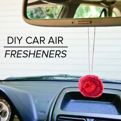 DIY felt flower air freshener for your car.