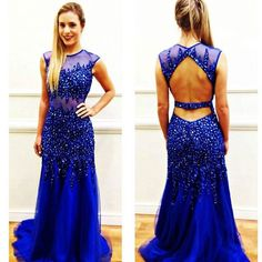 2016 Sheer Applique Long Blue Backless Prom Dresses Formal Evening Party Gown #Handmade #Sexy #Formal