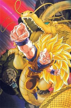 """Textless poster art for the 13th Dragon Ball Z movie """"Dragon Fist Explosion!! If Goku Can't Do It Who Will?"""" Art by Tadayoshi Yamamuro."""