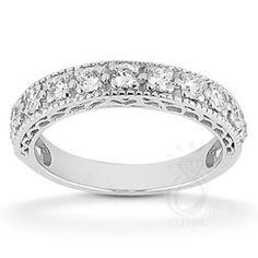 Eleven Stone Wedding Band With Filigree $475+ #weddingband
