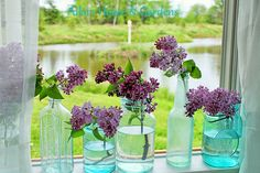 Lilacs & Turquoise jars = breathtaking :) Looking out over the Lake in Turquoise bttls and Lilacs